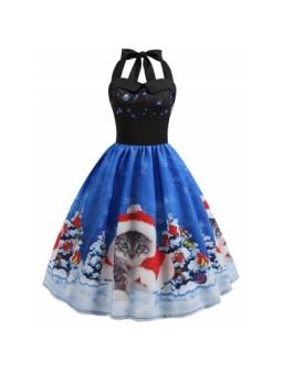 Christmas Hat Cat Print Dress