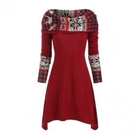 Christmas Elk Plaid Dress
