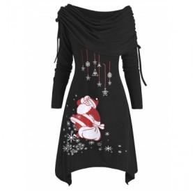 Christmas Santa Claus Cinched Off Shoulder Dress