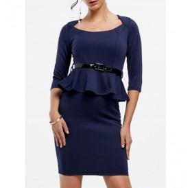 3/4 Sleeves Scoop Neck Belt Beam Waist Packet Buttock Flounces Sexy Peplum Dress