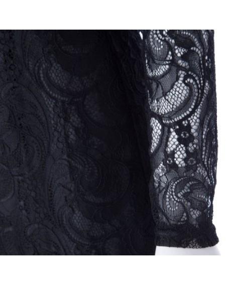 Black Color Lace Packet Buttock Dress