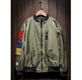 Zip Up Patch Bomber Jacket