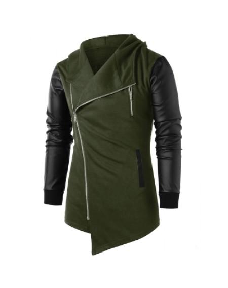 Asymmetric Zip Up Panel Coat