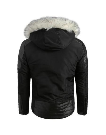 Applique Faux Fur Hoodie PU Parka Coat