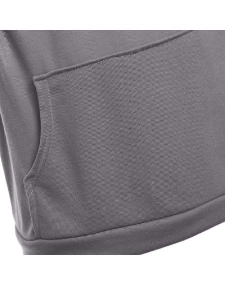 Hooded Sleeveless Front Pocket Solid Color Men T-Shirt