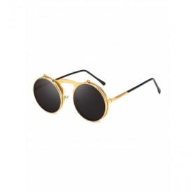 Metal Flip Round Sunglasses