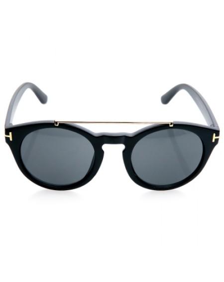 Alloy Embellished Matte Black Sunglasses For Women