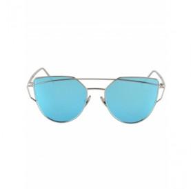 Metal Bar Silver Frame Sunglasses For Women
