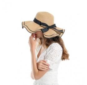 SALYBABY Spring Elegant Wavy Brim with Bow-Knot Beach Straw Hat